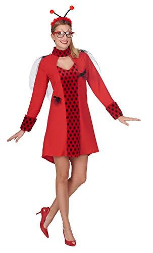 Andrea Moden 816-36/38 - kostuum lieveheersbeestje, jurk en haarband met voelers, maat 36/38, dier, insecten, motto party, carnaval
