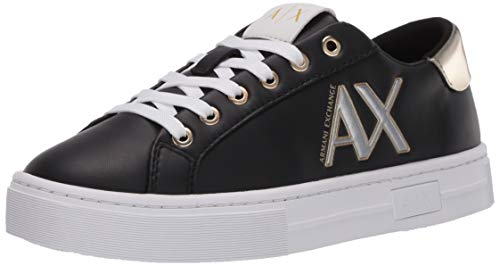 A|X Armani Exchange Damen Low Top Leather Thick Sole Lace Up Sneaker Turnschuh, SCHWARZ + Gold, 43 EU