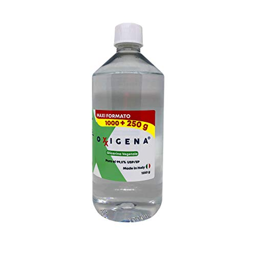 Glicerina vegetal líquida Oxxigena (glicerol) - F.U. Pura (99,5%) – Base Neutra Full VG inodoro e insípido, 1 l (1250 g) – Grado farmacéutico