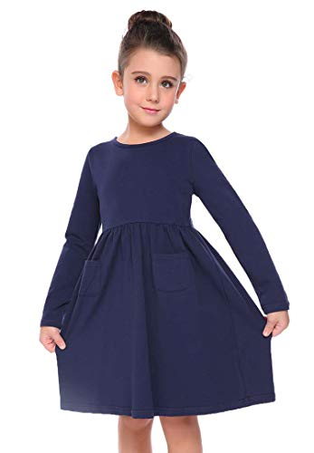 Arshiner Little Girls Long Sleeve Solid Color Casual Skater Dress,Navy Blue,100(Age for 3-4Y),Navy Blue,100(Age for 3-4Y)