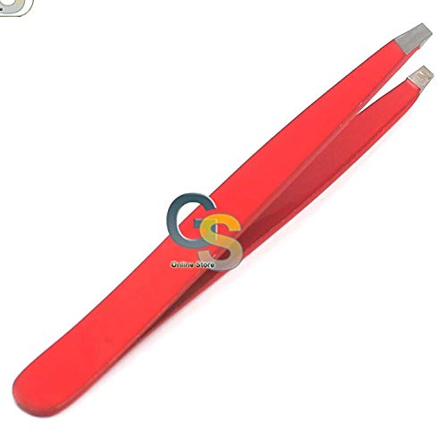 G.S RED SLANT TWEEZERS - PREMIUM STAINLESS STEEL PRECISION TWEEZER FOR MEN & WOMEN. GUARANTEED PROFESSIONAL AND HOME USE - BEST PLUCKERS FOR SHAPING EYEBROWS & HAIR REMOVAL! BEST QUALITY