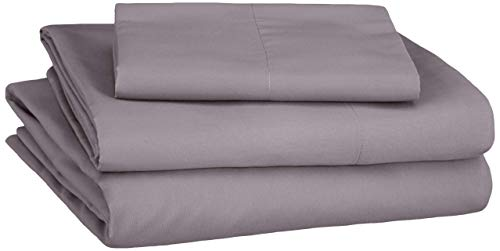 AmazonBasics Soft Microfiber Sheet Set with Elastic Pockets - Twin, Warm Stone