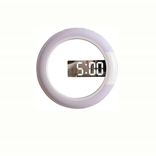 HGVVNM DIRIGIÓ Nightlight Digital Wall Clock Alarma Espejo 3D Hollow Reloj Mesa Reloj 7 Colores Temperatura para Decoraciones de Sala de estar