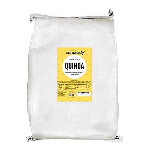 CEREAUSLY Organic White Quinoa in Bulk   10 Lb   Restaurants   Wholesale   Bolivian   Royal   NON-GMO   Kosher   Gluten-Free   Vegan