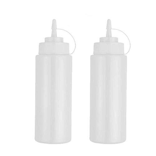 litulituhallo Botellas plásticas del condimento del chorro del apretón con la torsión en las tapas del casquillo de los dispensadores superiores blancos 2 paquete 480ml
