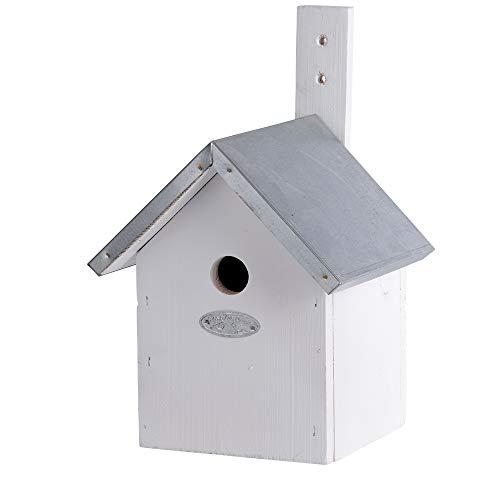 Esschert Design Nistkasten, Vogelhaus für Blaumeisen in weiß, ca. 19 cm x 18 cm x 31 cm