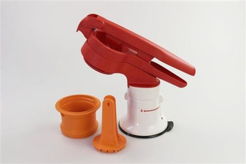 Tupperware Chef Pommes-Schneider orange Presse mit Standfuß 35692