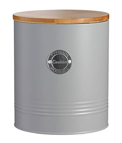 Typhoon Living Collection, pastellgrau, 3,4 Liter Keksdose, Stahl, Bambusholz, Silikon