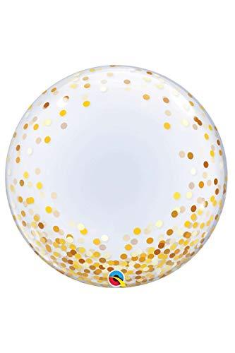 Qualatex Direct Globo de Helio Transparente con Forma de Burbuja y Confeti Dorado