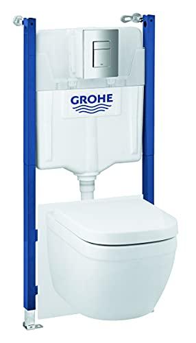 GROHE Solido Euro Keramik 6-in-1 Bundle | bestehend aus Wand-WC mit Sitz, Betätigungsplatte, Vorwandelement, Schallschutzset, Wandwinkel, GROHE Fresh | 39889000