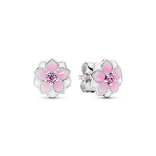 Pandora Jewelry - Magnolia Bloom Earrings in Sterling Silver with Pale Cerise Enamel and Multicolor Cubic Zirconia