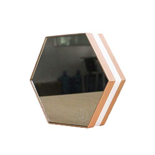 Ybzx Reloj Despertador multifunción con Espejo, Espejo de Maquillaje, luz Nocturna LED, Reloj Despertador, termómetro electrónico, Brillo de 4 Niveles, diseño Hexagonal pequeño y Ligero, Funciona