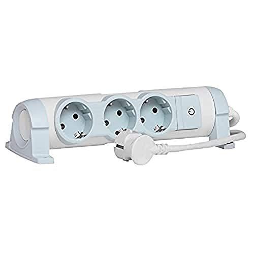 Legrand, drehbare Steckdosenleiste mit Kontroll-Schalter EIN/AUS und LED-Beleuchtung, 3 Steckdosen (3-fach); zur Befestigung an Wand und Tisch, 694621