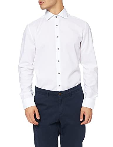 Seidensticker Slim Fit Langarm Popeline Camisa, Blanco, 41 para Hombre