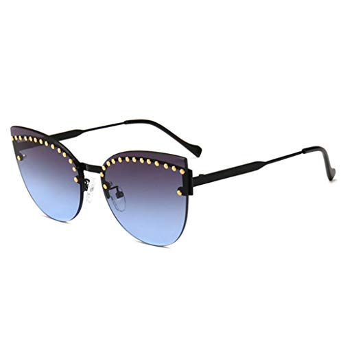 Outdoor sport houlian shop Double Cat Eye Rivet Inlaid Decoratieve Metalen Zonnebril Trend Street Fashion Zonnebril