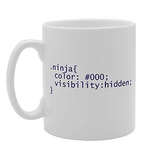 Ninja Visibility CSS estilo etiqueta café tazas regalos para hombres taza de cerámica divertida para mujeres oficina taza de cerámica 11 oz