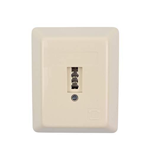 Telefondose TAE U - 1x6 - Anschlussdose - Universal für F+N - Aufputz AP - 1x Telefon oder 1x Nebenstelle Fax AB Modem NTBA DSL-Splitter - beige