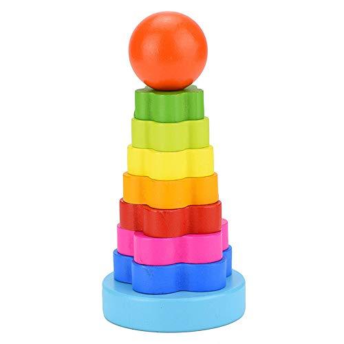 Vovotrade® Kid Baby Rainbow Tower Ring Empilage Bois Empilez l'éducation Enfants Nest Kid Wooden Stacking Stack Up Nest Children Education (Multicolor)