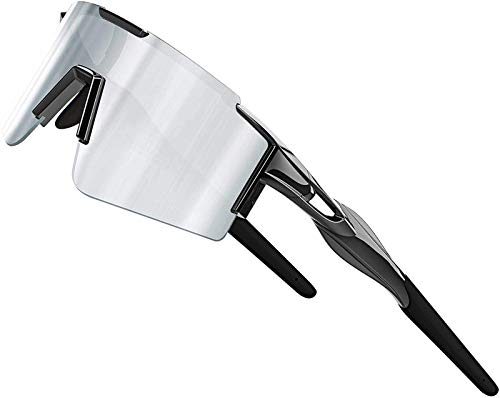 XBSXP Gafas de Sol para Bicicleta Gafas de Sol polarizadas para Ciclismo para Mujeres y Hombres Protección UV Marco Grande, Plateado