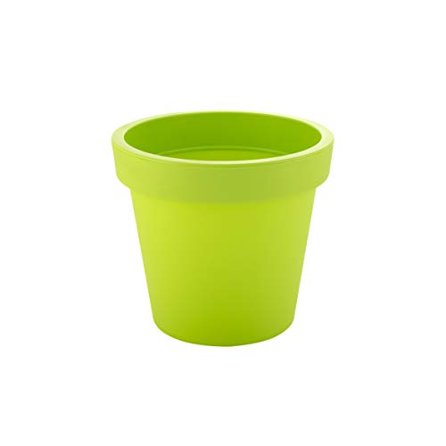 greemotion Pot de Fleurs Anna, Cache-Pot Rond en Plastique, Jardinière pour Plantes Extérieures et Intérieures, Ø env. 25 cm, Hauteur env. 22,4 cm, Vert Clair