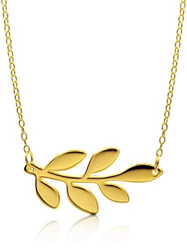 VIASOUL® Blatt Kette I Blätter Halskette für Damen I Natur Kette aus 925er Silber I Mit 585er Gold überzogen I Die Original Happy Leafs (Gold)
