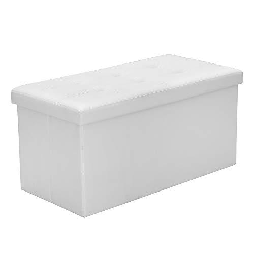 Hengda Sitzhocker Weiß Sitzwürfel Faltbar Sitzbank PVC-Leder Wohnzimmer Polsterhocker Sitzbox für Spielzeug Magazine belastbar bis 300KG Aufbewahrungsbox 76 * 38 * 38cm