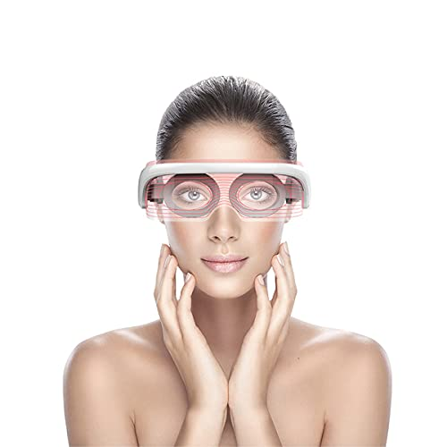 DOKIAUTO Masajeador de ojos eléctrico con calor, compactación del aire, antifaz para ojeras, bolsillos con luces LED en 3 colores, espectro USB, alimentado por USB, gafas de masaje, color blanco