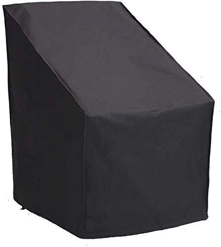 Funda para silla de jardín Funda para silla apilable impermeable para patio Funda para muebles de tela Oxford 420D para exteriores con cordón y bolsa de almacenamiento 86 * 83 * 65cm Negro Negro