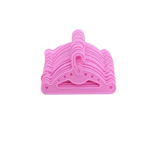 JBNS Mini Kleiderbügel Tragbaren Mini-aufhänger Nette Puppe Kleiderschrank Kleid Kleiderbügel Puppenzubehör Kleid Hemd Halter Mini Spielzeug Für Kinder 10pcs Rosa