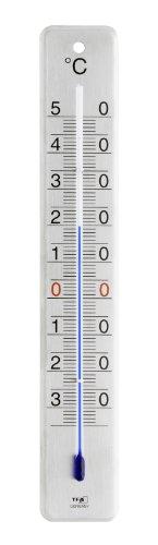 TFA Dostmann Analoges Innen-Außen-Thermometer, Edelstahl gebürstet, L45 x B9 x H280 mm