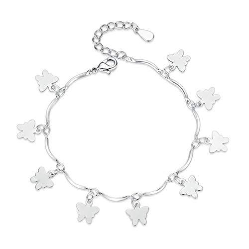 Joyería de plata para mujer, pulsera de plata con lazo, personalidad simple, bonita pulsera de plata, regalo de cumpleaños para niña, moda 16 + 4 CM