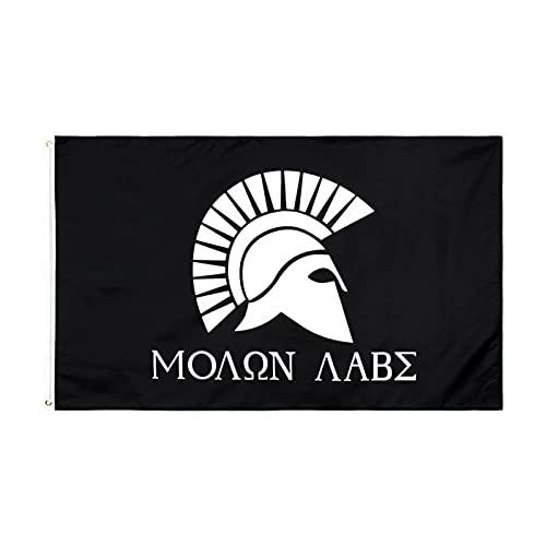 YYOBK 3 Ft X 5 Ft Outdoor-Flaggen Banner, Sportventilator-Flaggen Im Freien, Molon-Labe-Flagge, Spartanische Flagge, Für Zuhause Und Paraden, Offizielle Party, 2 Stücke (Size : 3FT*5FT)