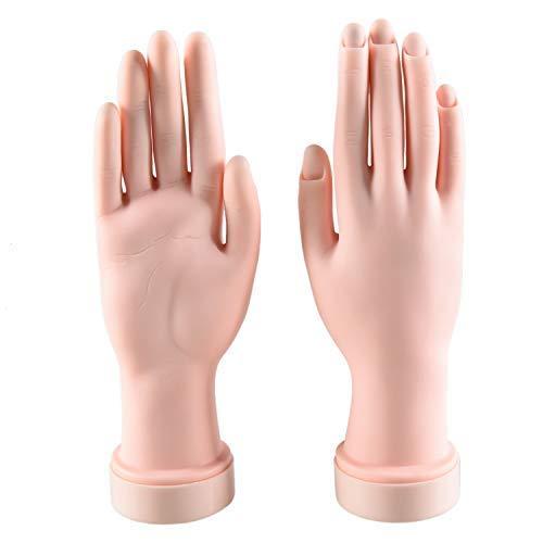 WEFOO 2Pcs Nail Art Training Hand, Flexible Soft Plastic Mannequin Hand Nail Art Trainer, Manicure Practice Hand Tool