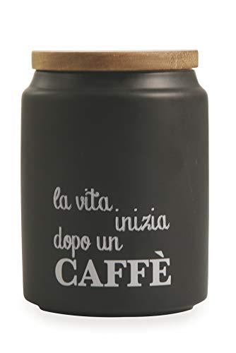 Villa d'Este Home Tivoli Idee Barattolo Caffè con Coperchio Bamboo, Nero