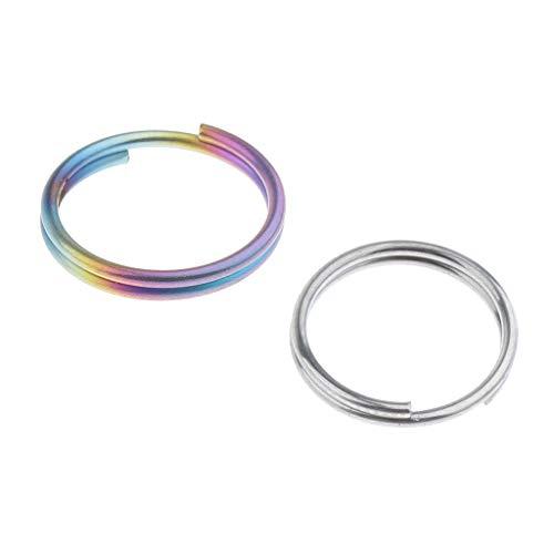 SM SunniMix 2 Uds Anillos Divididos de Titanio Pequeños Llaveros para Conectar Collares, Etiquetas, Llaves, Pendientes, Joyas, Titanio Colorido - 14mm