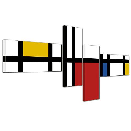 Bilderdepot24 Wandbild - Mondrian Retro - Bild auf Leinwand - 200x90 cm 4 teilig - Leinwandbilder - Wandbild Wandbild Kunst & Life Style - Moderne - Abstrakt - Piet Mondrian - Komposition