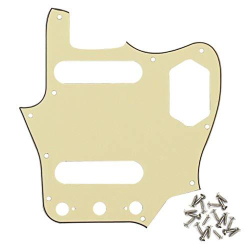 Guitar Parts 10 Holes Guitar Pickguard Scratch Plate + Screws for Jaguar Style Guitar 10Color - (Color:Cream 3Ply)
