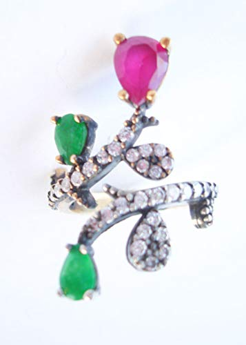Anillo otomano vintage de plata turca y oro vermeil esmeralda diamante rubí talla 6