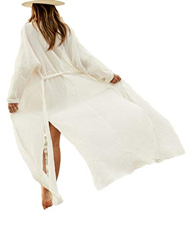 Bsubseach White Long Sleeve Beach Cover Ups for Women Side Split Bikini Kimono Swimsuit Cover Up Swimwear with Belt