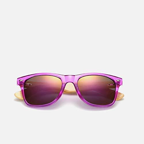Único Gafas de Sol Sunglasses Gafas De Sol De Madera De Bambú para Mujer, Gafas De Sol Uv400 con Espejo, Tonos De Madera