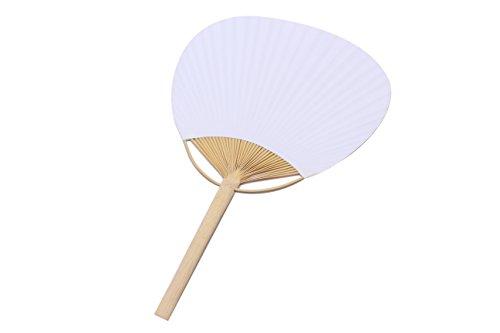 Lote de 10 Pai Pai Bambú Papel BLANCOS - Abanicos Parasoles Baratos Amazon Rafia Mimbre Chinos (Blanco) Perfectos para Invitados de Bodas