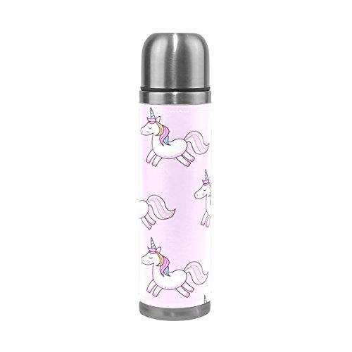 Ffy Go Travel Mug, Licorne Impression personnalisé Thermos en acier inoxydable LeakProof Thermos isotherme extérieur Cuir pour filles garçons Rose 500 ml
