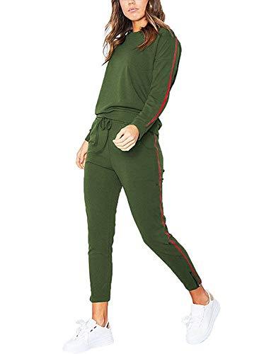 Tomwell Damen 2pcs Hausanzug Jogginganzug Langarm Pullover mit Hose Sportanzug Trainingsanzug Rundhals Sweatshirt Armee Grün EU L
