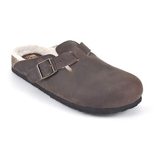 WHITE MOUNTAIN Shoes Bari Women's Clog, Brown/Leather W/Fur, 9 M