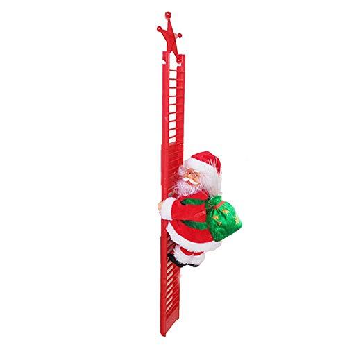 Babbo Natale Che Sale Le Scale Elettrico Cammina, Babbo Natale Musica E Movimento Arrampicata Decorazioni Natalizie da Interno Giocattolo Peluche Villaggio (Rosso-A, Piccolo)