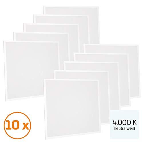 Proventa® LED-paneel 62 x 62 cm, 10 stuks, 36 W (A++), neutraal wit 4.000 K, 3.600 lumen, heraansluitbare voeding m. eurostekker, 2 jaar garantie