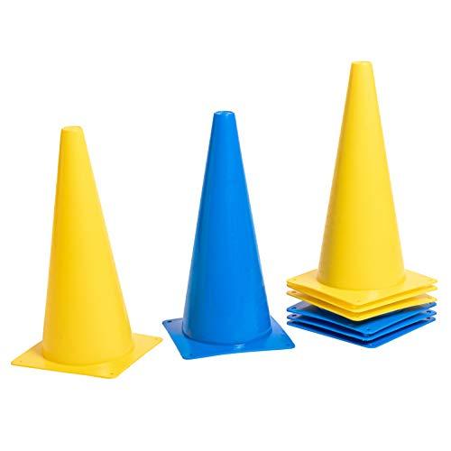 8LevelUp Pylonen 8er Set - 38 cm Hütchen (4 gelbe und 4 Blaue Kegel - flexibel, sicher und robust) für Fußball, Reitsport, Hundetraining, Pferdetraining, Agility Training für Hunde