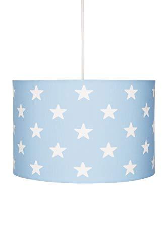 Deckenlampe für Kinderzimmer Hängeleuchte Lampenschirm mit Sternen in blau Weiss, 30x20 cm, E27, 60 Watt, 230Volt