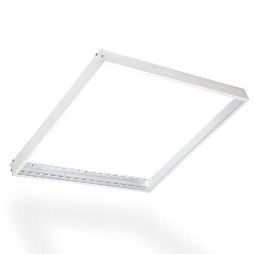 POPP® Kit de Superficie para Panel 60x60 con Marco blanco Fabricado en Aluminio, Kit para Techos - Accesorios Led (600x600mm)