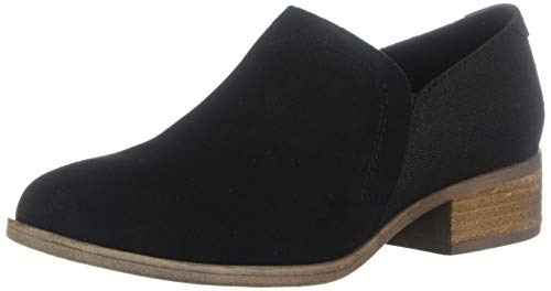 TOMS Women's Shaye Ankle Boot, Black Suede/Heritage Canvas, 12 Medium US